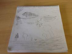 Este é um dragao que eu nao sei se é dragai mas eu fiz no meu caderno. Assinado: Téo