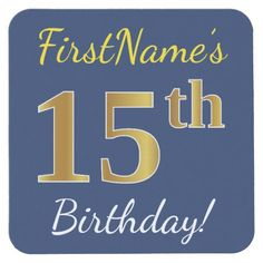 Blue, Faux Gold 15th Birthday + Custom Name Square Paper Coaster