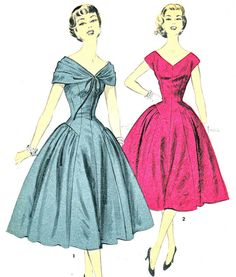 1950s Dress Pattern Advance 6993 Full Skirt V Neck Princess Seam Day or Evening Dress Shoulder Drape Womens Vintage Sewing Pattern Bust 36