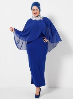 Yakası Taş Süslemeli Uzun Kollu Şifon Elbise 5042U - Saks - He&De