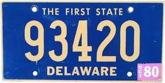 1980 Delaware License Plate