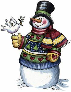 MUÑECOS DE NIEVE - Tita K - Picasa Web Albums - snowman with bird on hand