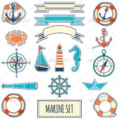 Buy Set of Flat Marine Elements by on GraphicRiver. Set consists of 17 flat marine elements. Icluded files: – scalable and high resolution pixels RGB Jpeg im. Anchor Logo, Finger Tattoos, Note Cards, Ship Silhouette, Screen Printing, Decoupage, Nautical, Diy And Crafts, Blue Boat