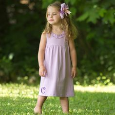 kids Tank Dress-Lolly Wolly Doodle Lavender Ruffle Neck