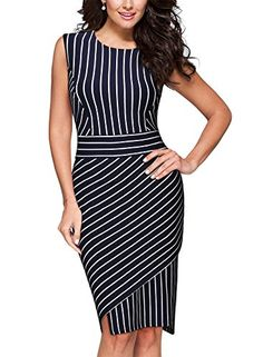 bb1a9ad6bf954 Miusol Women s Formal Scoop Neck Stripe Slim Work Bodycon Pencil Dress at  Amazon Women s Clothing store