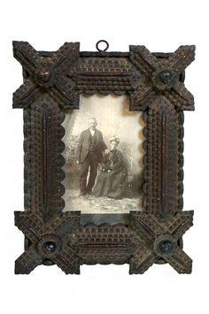Tramp art frame & old picture