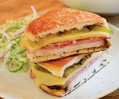 Grilled Roast Pork Cubano Sandwiches -  I substituted chicken, bacon, and mozzarella - and skipped the garlic mix - :) -- delicious