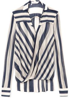 10 Crosby Derek Lam Sheer Stripe Drape Front Blouse - hot patterns have one just like this