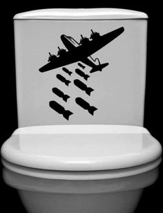 Droppin Bombs!  Man cave toilet decals. I bet Mike would appreciate this... maybe with F-16s dropping bombs