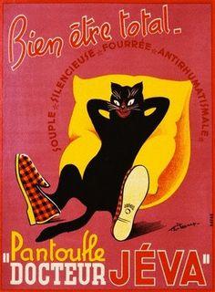 ¤ vintage ad. a black cat with slippers on...Bien être total...Pantoufle Docteur…