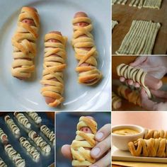 Halloween Meal - Lil' Mummies - Roll out Puff Pastry Dough to form a rectangle and cut long strips 1 cm wide - Wrap a strip around each sausage, leaving a part uncovered - Line the 16 wrapped sausages on a cookie sheet - Bake according to pastry's instructions  - Make dots with Mustard eyes - Serve with condiments on side
