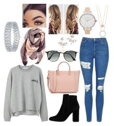 """casual fall look"" by paigey16 on Polyvore featuring Topshop, MANGO, Everest, Ray-Ban, Kate Spade and Olivia Burton"
