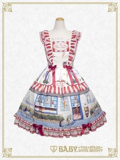 B41OJ216 Kitten's Sweet Cherries Cafe Diner Frill Jumperskirt