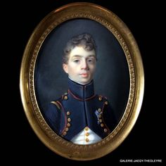 FRENCH SCHOOL CIRCA 1814, MINIATURE PORTRAIT OF AN OFFICER OF THE IMPERIAL GUARD Miniature Portraits, Miniature Paintings, Historical Romance Novels, French School, Antique Frames, Daguerreotype, Watercolor Portraits, Napoleon, Vintage Paintings