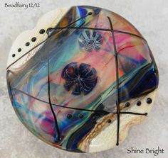 Shine Bright large Lentil Focal bead  pink blue   by Beadfairy, $34.90
