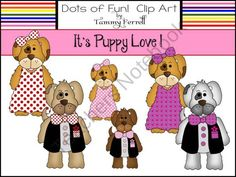 It's Puppy Love! product from Dots-of-Fun-Clip-Art on TeachersNotebook.com