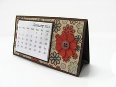 2015 Flower Desk Calendar Desktop Calendar by SassyScrapsCrafts