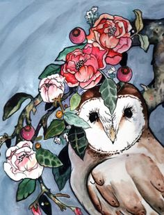 Beautiful barn owl art with English roses and leaves. Prints available through the link. Artwork created by Hannah Margaret. Beautiful Owl, Cat Dresses, Owl Art, English Roses, Cool Paintings, Cross Stitch Patterns, Art Prints, Drawings, Artwork