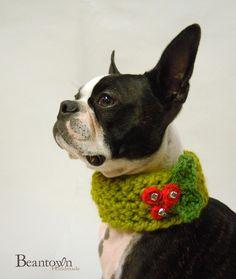 Holly Jolly Dog Neck Warmer by BeanTownHandmade on Etsy