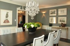 Grey dining room  Not fond of the back of the chairs. But everything else is gorgeous!