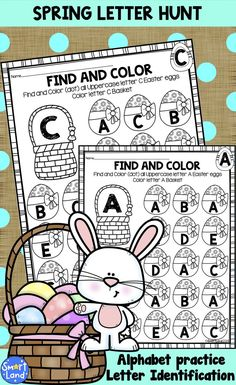 Beautiful Easter Eggs letter search. Letter identification, Alphabet review and beautiful spring coloring material!   Uppercase letters A through Z, perfect for class work, at literacy centers, warm-up time, as busy sheets or extra alphabet practice homework. Designed for PreK and Kindergarten children. No preparation needed - just print and use! Kindergarten Literacy, Literacy Centers, Letter Identification, Preschool Special Education, Abc For Kids, Phonics Worksheets, Time Kids, Cool Lettering, Learning Letters