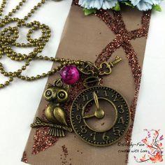 """Halskette """"Ziffernblatt-Eule"""" #1124 von Hobby-Fun/kreative Schmuckideen auf DaWanda.com"""