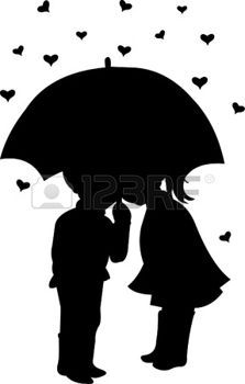 umbrella silhouette: Boy and girl under umbrella on hearts shapes rainy background for Valentines Day silhouette  Illustration