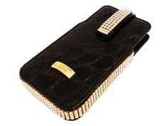 Italian handmade black leather Cango & Rinaldi iPhone bag is very elegant and beutiful option for you. Black leather and golden color Swarovski crystal complete this bag and your iPhone will have a perfect home.