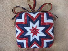 Christmas ornaments and Holiday craft decorations, Easter, 4th of July Patriotic, Valentines day, Ribbon of Hope (cancer awareness) crafts. Folded Fabric Ornaments. Patterns, epatterns, and PDF Downloads. Quilt, quilted ornaments, no sewing, no sew. Balls, pinecone, wreath, heart, egg, star, flag, stars and stripes, bell. tree