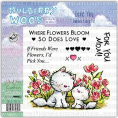 """Crafter's Companion Mulberry Wood """"Love You"""" EZ-Mount Stamp Set. These gorgeous Mulberry Wood characters, hand-drawn by Ian Hallows, are perfect for all your festive crafting creations. As well as the characters, each stamp also features sweet sentiments, giving you everything you need for fabulous seasonal card toppers. ThisLove YouEZMount stamp features gorgeous Mulberry Wood characters and the sentiments """"For My Mum"""", """"Where Flowers Bloom So Does Love""""and """"If Friends Were Flowers, I'd…"""