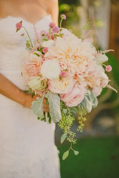 romantic dahlia bouquet by Twig & Twine, photo by Closer to Love Photography | via junebugweddings.com