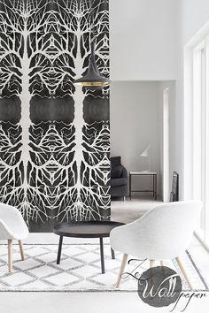 Self adhesive Peel & Stick Wallpaper, wall decal. Adhesive wall sticker. Wall, door and furniture decor with dark gray tree pattern - ZE004