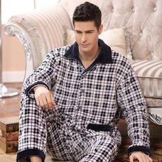 66ea05d3ed 2017 Spring Winter Thick Coral Fleece Men Pajamas Sets Of Sleep Tops  amp   Bottoms Male