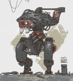 mecha sketch by Max Li on ArtStation. Cyberpunk Aesthetic, Cyberpunk Art, Robots Robots, Tecno, Robot Design, Retro Futurism, Spaceships, Larp, Gundam