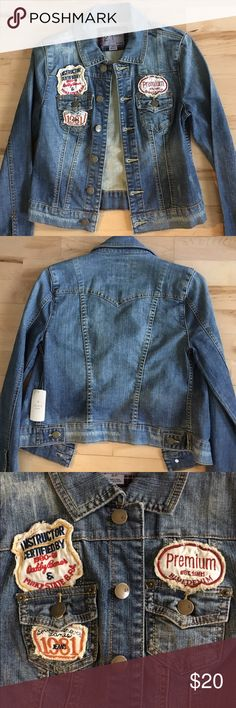 Denim patch jacket Denim distressed jacket with patches • 98% cotton 2% spandex Forever 21 Jackets & Coats