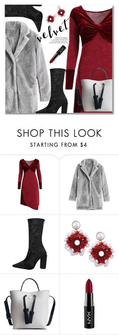 """""""Velvet dress"""" by gamiss ❤ liked on Polyvore featuring NYX"""