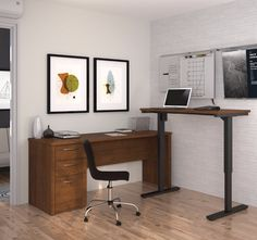 Embassy L-Desk including Electric Height Adjustable Table in Tuscany Brown - Bestar offers numerous configuration possibilities for various uses. Offering smaller or larger desks, this collection is ideal for every type of workplace includ L Desk, Home Desk, Desk Office, Office Furniture, Office Decor, Business Furniture, Adjustable Height Table, Adjustable Desk, Best Standing Desk