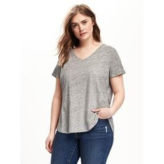 Old Navy Relaxed Plus Size V Neck Tee ($18) via Polyvore featuring tops, t-shirts, grey, plus size, plus size v neck t shirts, v neck t shirts, grey t shirt, gray t shirt and jersey t shirt