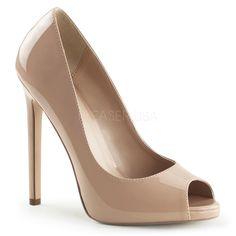 5 inch Heel, 1/4 inch PF Peep Toe Pump 5 inch (12.7cm) Stiletto Heel, 1/4 (0.6cm) Platform Peep Toe Pump Vegan Style Women's Sizing Size Range: 5-14
