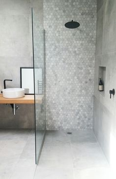 Shower: Midas from Tile Space Floors: Cementia Grey 75 x 75 https://www.tiles.co.nz/About/News/ArticleID/6/Contemporary-Concrete-Look-Bathroom