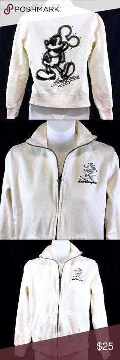 Walt Disney Mickey Mouse Cream Zip Sweatshirt - SM This zip up Cream colored sweatshirt with black Mickey Mouse is in very good condition. It has been gently pre-loved. Disney Tops Sweatshirts & Hoodies