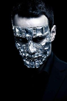jewelled face mask - clear stones and metal - source not proivded - pinned by RokStarroad.com