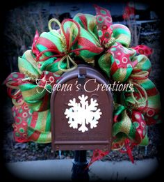 Deluxe deco mesh Christmas mailbox swag cover. http://www.facebook.com/keenascreations