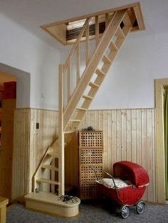56 clever loft stair for tiny house ideas House Stairs Clever House Ideas Loft Stair Tiny Renovation Design, Attic Renovation, Basement Renovations, Attic Remodel, House Renovations, House Remodeling, Remodeling Ideas, Tiny House Loft, Attic House