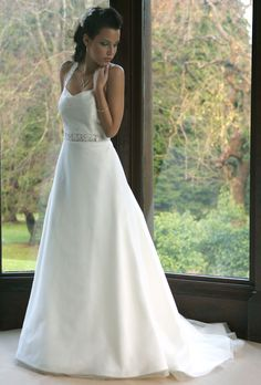 SALE Wedding Dresses - A-line wedding gown with train. Halter neck straps and modest V-line neck - Joyce Young By Storm Wedding Dresses London, Wedding Dresses For Sale, Designer Wedding Dresses, Bridal Dresses, Wedding Gowns, Joyce Young, Halter Neck, Unique Weddings, Couture