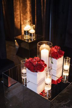 A sleek and sophisticated black tie affair set against a breathtaking urban warehouse setting, this, loves, is how you do a wedding. Sweet Sixteen Centerpieces, Rose Centerpieces, Centerpiece Ideas, Yalda Night, Cinderella Birthday, Rose Wall, Wedding Decorations, Table Decorations, Valentines Day Gifts For Her