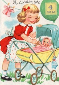 4 yr Birthday Card for little Girl Vintage Birthday Cards, Kids Birthday Cards, Vintage Greeting Cards, Vintage Ephemera, Birthday Greeting Cards, Birthday Greetings, Vintage Postcards, Happy Birthday, Birthday Celebration