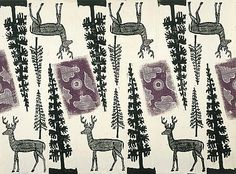 'Deer and Trees' wrapping paper design by English artist, illustrator & graphic designer Edward Bawden Colour linocut, white gouache & pencil on paper. via National Galleries Scotland Wrapping Paper Design, Vintage Wrapping Paper, White Gouache, Conversational Prints, Christmas Illustration, Vintage Greeting Cards, Illustrations, Stuffed Animal Patterns, Christmas Design