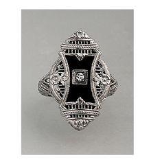 Antique Onyx and 14kt White Gold Diamond Ring by ArtDecoDiamonds, $1150.00