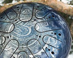 """TANK DRUM ( handpan steel tongue drum handpan drum steel drum hank drum singing bowl ) """" OM Tatoo """" by Kosmosky + free Bag Om Tatoo, Spiritual Symbols, Spiritual Meaning, Tatoo Designs, Steel Drum, Rite Of Passage, High Carbon Steel, Buddhism, Medieval"""
